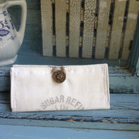 Warners vintage sugar sack wallet, rustic cotton wallet, hipster bag wallet, tea bag wallets