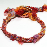 Kumihimo Bracelet Carnival Cotton Chunky Unique Red Purple Yellow Jewelry