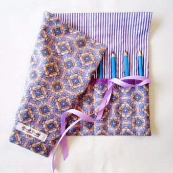 Pencil Roll XL Size / Crochet Hook Case/ Cosmetic Brush Roll/  Arts and Crafts storage/ purple floral and stripe