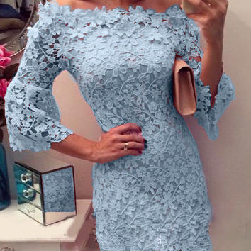 Blue Off-shoulder Lace Half Sleeve Mini Bodycon Dress