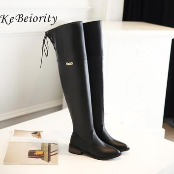 KEBEIORITY 2017 Autumn Spring Long Boots Women Flat Heel Over the Knee Boots Female Ladies Lace Up Thigh High Boots Botas Mujer