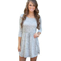 Women Casual Drawstring Gray Elegant Three Quarter Sleeve Dresses