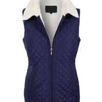 Sherpa Lined Quilted Zip Up Puffer Jacket Vest (CLEARANCE)