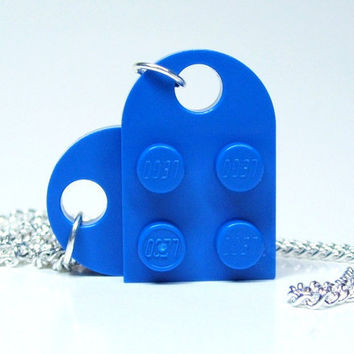 Brilliant Blue Heart Necklace made from Lego Heart by MoLGifts