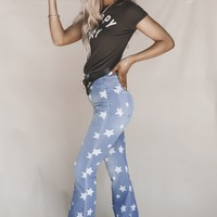 Starring You Printed Flare Jeans