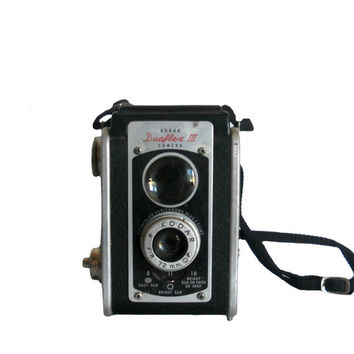 Vintage Kodak Camera 1950s Duaflex III Twin Lens Reflex Box Camera with Neck Strap and Flash Attachments