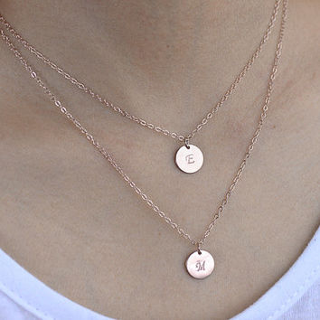 Double Layered Necklace. rose gold initial necklace. two personalized discs necklace. mother, sister, friendship, couple necklace.