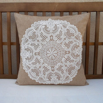 Decorative Pillow Cover, Lace Shabby Chic Pillow, BeigeThrow Pillow Cover, Cottage Decor, Lace Pillow Cover, Shabby Chic Decor