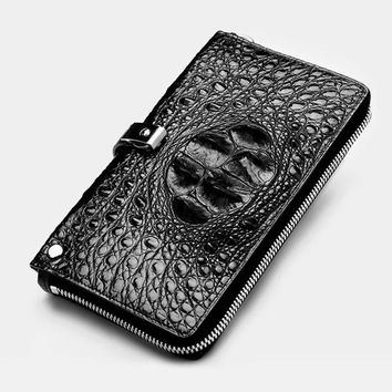 ouluoer Thai crocodile skin Handbag men's long purse real leather multi-card wallet fashion business casual men's bag