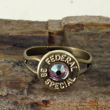 Bullet Ring  Federal 38 SPL   RED AB Crystal by ShellsNStuff