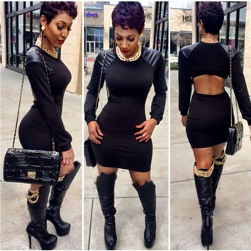 Black Cut-Out Back Long Sleeve with Leather Patch Bodycon Mini Dress