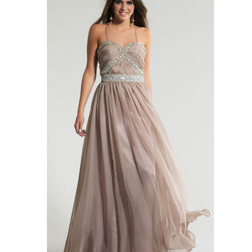 Dave & Johnny 10646 Taupe Stone & Chiffon Grecian Gown 2015 Prom Dresses