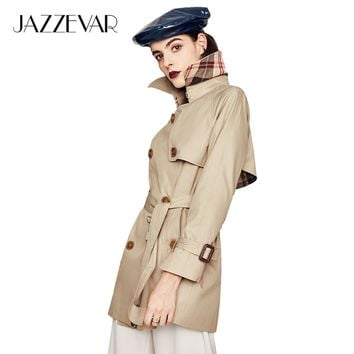 JAZZEVAR 2019 New High Fashion Women's Waterproof Cotton Double-breasted Short Trench Coat Outerwear Top Quality