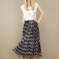 Black and white midlength ikat vintage skirt with fringe detail at hem | shopcuffs.com