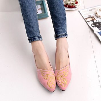 Women's Shoes Flats Leather Ladies Woman Slip-On Embroidery Butterfly Soft Low Heels Ballerina Spring Suede Casual Loafers 2018