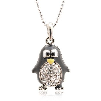 Silver Plated Round Body Cute Black Penguin Necklace
