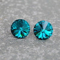Teal Blue Peacock Crystal Stud Earrings Super Sparklers Jewelry by Mashugana