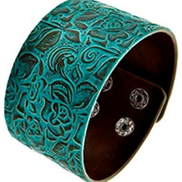 Embossed Leatherette Cuff