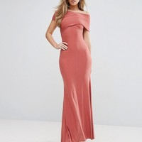 Club L Twist Front Off-Shoulder Maxi Dress with Fishtail at asos.com