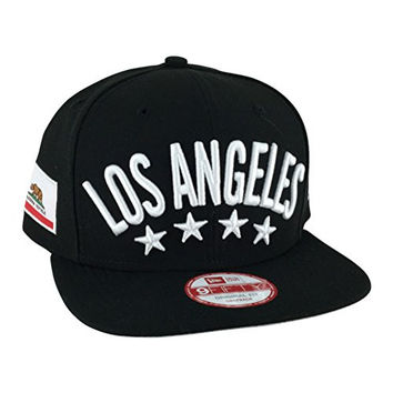 New Era Og Fits Los Angeles Flag Stated Black White Snapback Hat Cap x Dodgers Kings Lakers