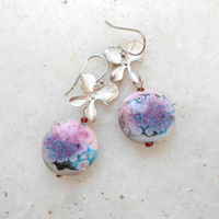 Lampwork Earrings, Handmade Jewelry, Contemporary Pastel Artisan Lampwork Jewelry Gift Ideas for Women