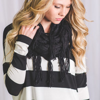 With Love Knit Fringe Infinity Scarves (Black)