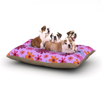 """Jane Smith """"Woodland Floral"""" Purple Flowers Dog Bed"""