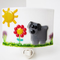 Dog lover night light, dog decor, gift for dog lover, whimsical art, fused glass nightlight, childrens room decor, dog lover decoration