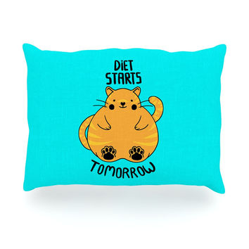 "Tobe Fonseca ""Diet Starts Tomorrow"" Blue Cat Oblong Pillow"