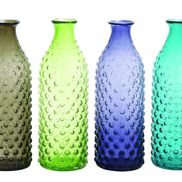 Set of 4 bubble-surfaced glass vase