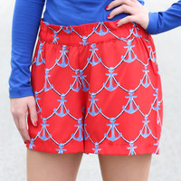 Mud Pie Red Anchor Shorts