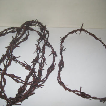 5 Leather barbed wire necklaces....antique brown color and about 18 inches long......bracelet.....hat band...
