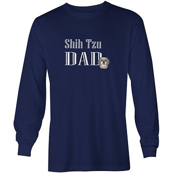 Gray Silver Shih Tzu Dad Long Sleeve Blue Unisex Tshirt Adult Double Extra Large BB5258-LS-NAVY-2XL