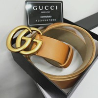 GUCCI Hot Sale Classic Woman Men Smooth Buckle Leather Belt Brown I/A