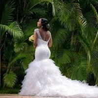 V Neck Beaded Plus Size Mermaid Wedding Dress Bridal Dress Custom Size 2 4 6 8