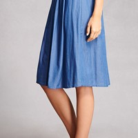Pleated Chambray Skirt