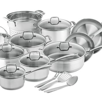 Chef's Star Professional Grade Stainless Steel 17 Piece Pot & Pan Set - Induction Ready Cookware Set with Impact-bonded Technology