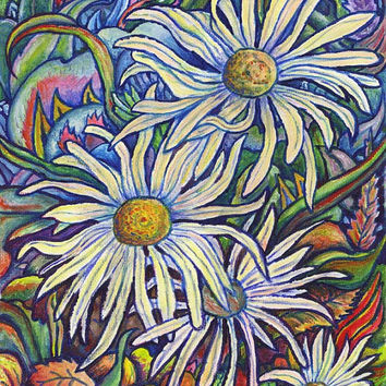 "Giclee print on canvas - Wild Daisies - 8"" x 10"" - Signed/Editioned"