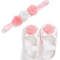 Infant Girl's PLH Bows & Laces Crib Shoes & Headband