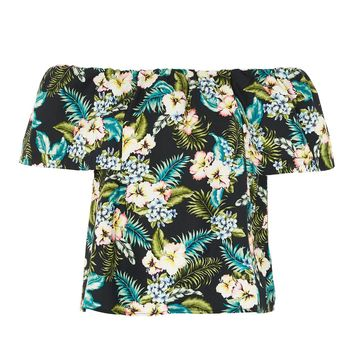 Hawaiian Print Bardot Top