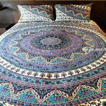 Mandala tapestry bed comforter cover + flat sheet + 2 matching pillowcases. Roundie mandala Doona / Duvet cover, sheet &  2 pillowcases