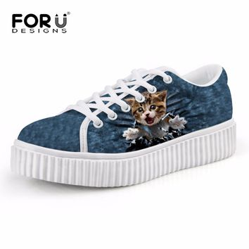 FORUDESIGNS Women's Flat Platform Shoes Funny Cat Printing