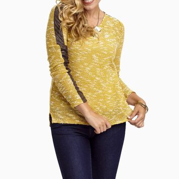 Mustard-Yellow-Knit-Leather-Accent-Sweater-Top