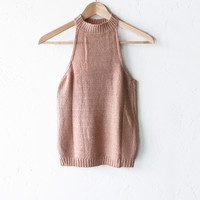 Knit Sleeveless High Neck Top - Fall Rose