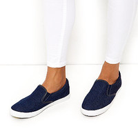 Wide Fit Navy Denim Slip On Plimsolls