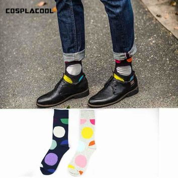 [COSPLACOOL]New Colorful Dot Happy Skateboard Business Socks Men In Tube High Quality Meias Fashion Cotton Absorbent Unisex Sox
