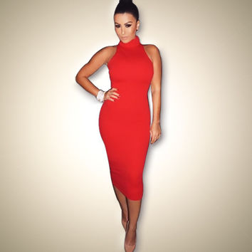 Sexy Bandage Red Turtleneck Party Dress