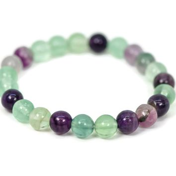 Natural Fluorite Stone Bead Stretch Bracelet