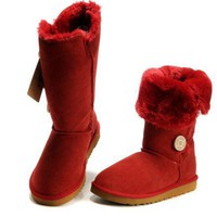 UGG Women Fashion Wool Snow Boots Red