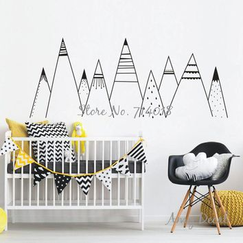 Patterned Mountains Wall Decal Mountain Woodland Nursery Tribal Wall Decals Nordic Style Home Decor Vinyl Wall Stickers A836